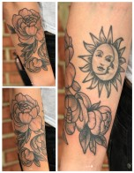 Friendly Sun and Moon over Flowers