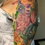 Hummingbird among the Flowers